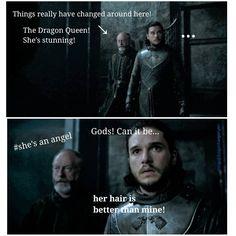"""""""Jon loves his hair. It is known."""" game of thrones season 7 funny humour meme Jon Snow, Daenerys Targaryen, Kit Harington"""