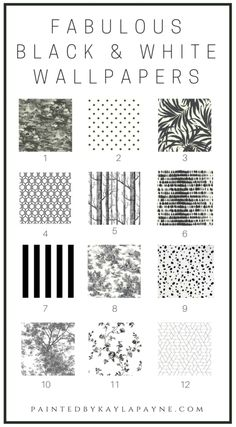 Round Up of 12 Fabulous Black and White Wallpapers that will add style and class to any room in your home!