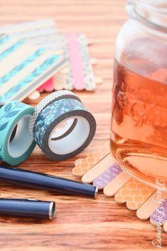DIY Glasuntersetzer aus Washitape und Holzstäbchen #diy #deko #decoration #trend #tutorial #anleitung #selbermachen #filizity