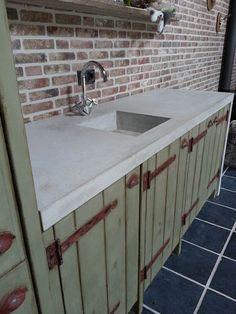 betonnen buitenkeuken ingestorte spoelbak wijchen 3
