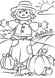 Autumn Scene with Scarecrow coloring page | Free Printable Coloring Pages