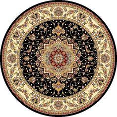 Safavieh Lyndhurst Traditional Oriental Black/ Ivory Rug Round) , Size x (Olefin, Medallion)