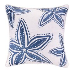 Navy Blue Starfish Embroidered Pillow