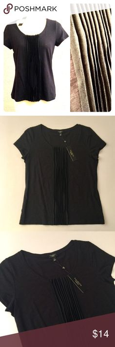 """NWT Talbots Pima Cotton Top New with tags. Talbots top. Great casual or dressy versatility.  Black cotton top with black Sheer detail down front. Open balletneck scoop neck, Short sleeves Length: 24"""". 18"""" armpit to armpit.  100% pima cotton In like new condition, no flaws. Talbots Tops Tees - Short Sleeve"""
