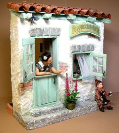 Puppenschneiderin by Eifel Minis Vitrine Miniature, Miniature Rooms, Miniature Houses, Clay Houses, Ceramic Houses, Tile Crafts, Clay Crafts, Glow Table, Doll House Crafts