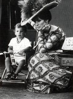 "Barbra Streisand with son Jason on the set of ""Hello Dolly""."