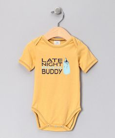 Take a look at this Yellow 'Late Night Drinking Buddy' Organic Bodysuit - Infant by Urban Smalls on #zulily today!