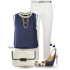 White Cropped Trousers by oribeauty-cosmeticos on Polyvore featuring мода, Theory, MaxMara, Christian Louboutin, Marc by Marc Jacobs, Victor Velyan, Principles by Ben de Lisi and Dorothy Perkins