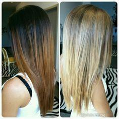 2 sessions going light from permanent hair color. About 6 hour services each but worth the time. #balayage #ombre
