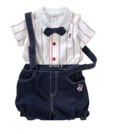 3 Piece set Shirt overall and bow tie 100 cotton Made in China Baby boy star stripe white shirt with matching red buttons and black matching overall