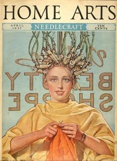Home Arts Needlecraft Magazine, April 1937 - knit and curl, beauty parlor