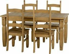 Corona 5' Dining Set is the  coolest design that will make your room gorgeous. This furniture has the quality of modern top classic and more details visit our website : http://solidwoodfurniture.co/product-details-corona-mexican-pine--4654-corona-dining-set.html