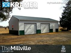 The Millville - 24 x 40 x 10 View, configure and price this building at http://www.MyPoleBuilding.com/