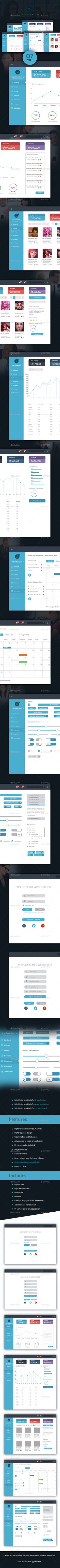 Dashboard User Interface For any Application Template PSD #design #ui Download: http://graphicriver.net/item/dashboard-ui-for-any-application/12506339?ref=ksioks