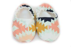 $15.00 SALE Baby Moccasin, Baby Moccasins Multicolored Aztec Print, Baby Girl Shoes, Toddler Shoes, Baby Moccs, Soft Baby Shoes, Baby Gifts