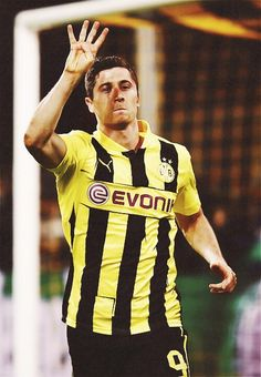 Polish striker Robert Lewandowski after scoring all four goals when Borussia Dortmund beat Real Madrid