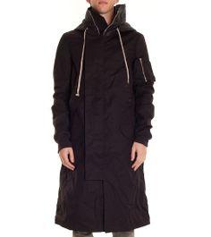 Rick Owens black PARKA COAT with waxed hood and shoulder detail  lesmarket   rickowens   e87bcf5738f37