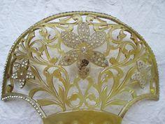 Huge Fan Shaped Celluloid Antique Haircomb by AntiqueHaircombDepot