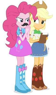pinkie pie and apple jack with the mustache again.