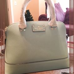 """ks ♠️ wellesley small rachelle Originally $398 9""""hx12""""wx4.9""""d, drop length 4.3"""" handheld, total strap length 45.3"""". Material: boar skin embossed cowhide with smooth leather trim. 14 karat gold plated hardware. Blue hydrangea color. kate spade Bags Satchels"""