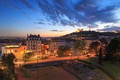 Troi Gaules - Amphitheatre des Troi Gaules, in Croix Rousse, and Vieux Lyon with Fourviere Basilica during dusk.