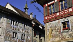 At the point where Lake Constance again becomes the Rhine River, you will find the little town of Stein am Rhein. It is famous for its well-preserved Old Town featuring painted facades and half-timbered houses, for which it received the very first Wakker Prize.