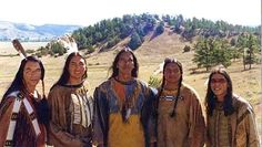 "Wes Studi, Buffalo Child, Michael Greyeyes, Steve Reevis, and Nathaniel Arcand in the movie ""Crazy Horse."""