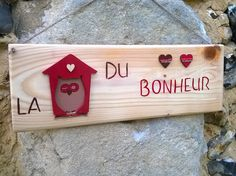 Plaque de porte en bois la maison du bonheur d coration for Porte cle maison du bonheur