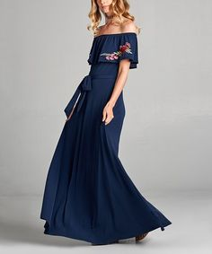 Look what I found on #zulily! Navy Embroidered-Accent Off-Shoulder Maxi Dress #zulilyfinds