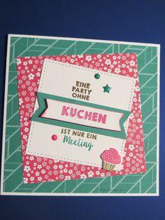 """Tizzy Tuesday #340 und IN{K}SPIRE_me Challenge #335:   Stampin up Stempelset Party-Grüße / Farben wassermelone (das Wort """"Kuchen"""" ist embossed), smaragdgrün, wildleder / CS weiß und smaragdgrün"""
