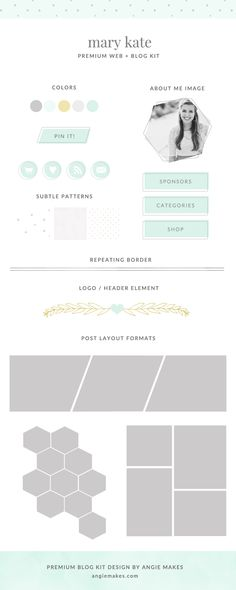 Cute Blog Graphics - Premade Blog Kit by Angie Makes. These are some nice premade blog graphics to spruce up your blog!