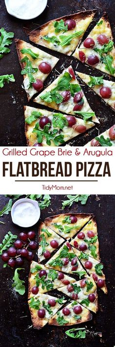 Brie and fruit pair wonderfully together.....topping them together on pizza is even more amazing. The cheese is able to melt and the grapes add a burst of sweetness and the thin, grilled crisp crust of the flatbread provides the perfect delivery. Grilled Grape Brie and Arugula Flatbread Pizza recipe at TidyMom.net