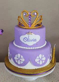 Crown topped cake at a Sofia the First birthday party! See more party ideas at CatchMyParty.com!