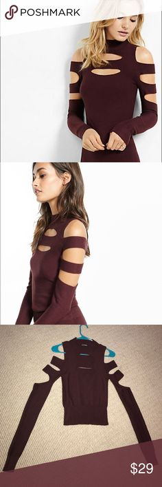 NWOT Express Slashed Mock Neck Cold Shoulder Top NWOT Express Slashed Mock Neck Cold Shoulder Sweater, size small. Stretchy material in burgundy color, slashed cut outs on sleeves, front & back. Express Sweaters