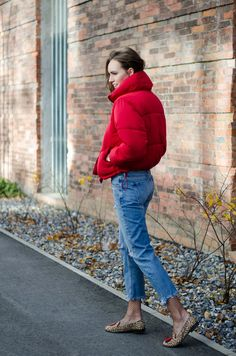 red puffer jacket fall outfit