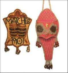 beaded match holder and whisk broom holder