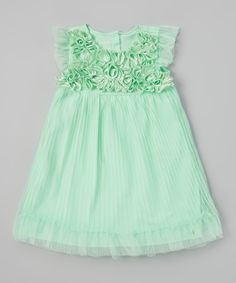 Love this Green Rosette Pleated Dress - Infant & Toddler by Nannette Baby on #zulily! #zulilyfinds