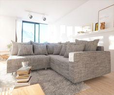 DELIFE Ecksofa Clovis Hellgrau Strukturstoff Armlehne Ottomane Rechts, Design Ecksofas, Couch Loft, Modulsofa, modular 10669-10156-0