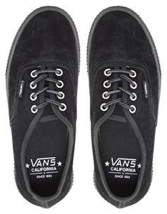 best website e936b c24ac Vans California Authentic Hiker CA Black Lace Up Trainers Black Lace Shoes,  Black Leather Shoes