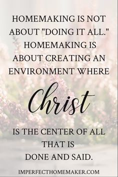 Great advice for the Christian homemaker!