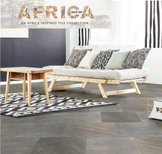 Stone-look tiles come in a variety of different patterns and shades. For a modern interpretation of this rustic aesthetic, look for finer detailing in the pattern and muted colours. Pair with modern geometric patterns for a contemporary, eclectic mix.  #outofafrica #africanstyle #stonelook #home #homedecor #tiles #lounge #livingroom Living Room, Furniture, Muted Colors, Tiles, Contemporary, Home Decor, Inspiration, Stone Look Tile, Lounge