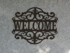 Welcome Metal Sign  Custom metal Name sign by CandGMetalArt