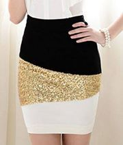 Black & white w/ gold sequins tight skirt. Dinner date ,club or girls night out Love Fashion, Fashion Beauty, Fashion Outfits, Womens Fashion, Bar Outfits, Vegas Outfits, Woman Outfits, Club Outfits, Teen Fashion