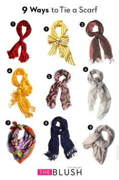 Nine ways to tie a scarf...because scarves are a thick girl's slimming accessory in the winter.