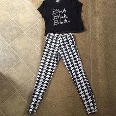 Black and White outfit bundle! The pants are stretchy but a lot thicker then legging material, they have a stretch waist band. The top is tshirt material in the front and sheer black material in the back! It was bought and never worn Tops Tees - Short Sleeve