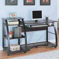 Get Good Working Ambiance With These Computer Desks : Beautiful Movable  Minimalist Computer Desk Design Integrated With Bookshelf And Keyboa.