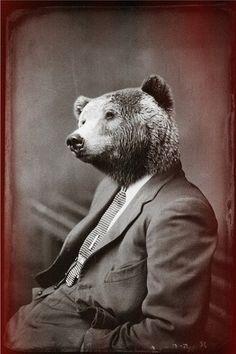 Ponder Bear by John Keddie Animal & Human Hybrid Prints Art Zen, Art Brut, Photocollage, Bear Art, Animal Heads, Pet Clothes, Brown Bear, Pet Portraits, Art Photography