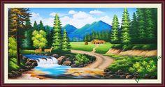 Tranh vẽ sơn dầu phong cảnh nơi núi rừng bình yên