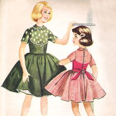 McCalls Vintage Dress and Petticoat Pattern Girls Size 6 Easy Sew 50s Helen Lee