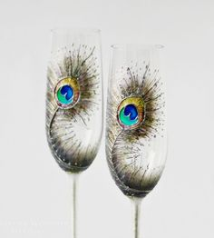 Hand painted champagne flutes - you need these for your toast!!  So pretty!